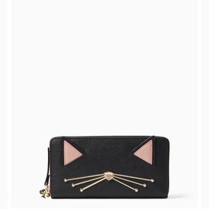 Kate spade black cat continental zip around wallet